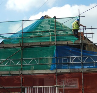Removing the roof slates at Cawdor Hall